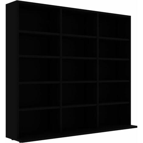 CD Cabinet Black 102x16x89.5 cm Chipboard
