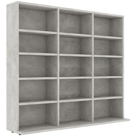 CD Cabinet Concrete Grey 102x16x89.5 cm Chipboard