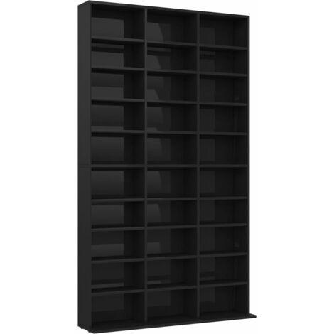 CD Cabinet High Gloss Black 102x16x177.5 cm Chipboard