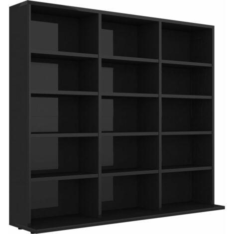 CD Cabinet High Gloss Black 102x16x89.5 cm Chipboard