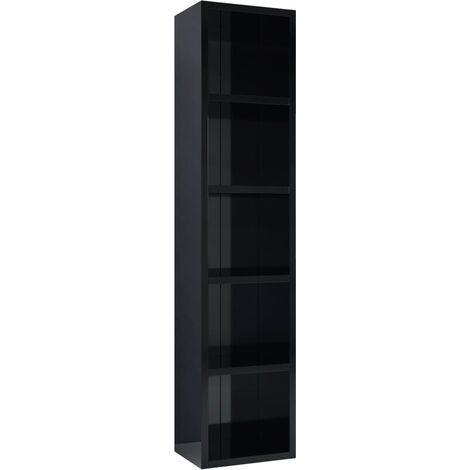 CD Cabinet High Gloss Black 21x16x93.5 cm Chipboard