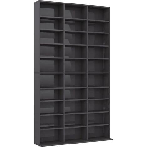 CD Cabinet High Gloss Grey 102x16x177.5 cm Chipboard