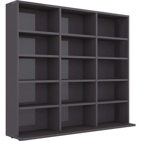 CD Cabinet High Gloss Grey 102x16x89.5 cm Chipboard