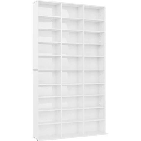 CD Cabinet High Gloss White 102x16x177.5 cm Chipboard