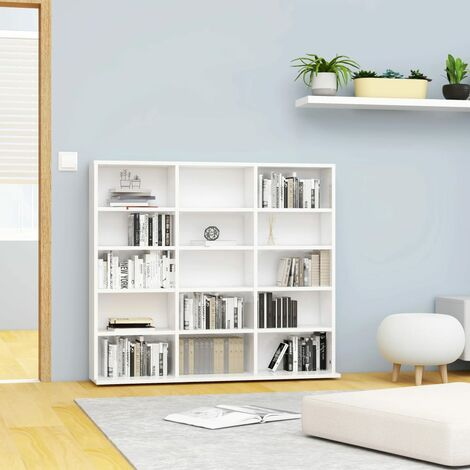 CD Cabinet High Gloss White 102x16x89.5 cm Chipboard