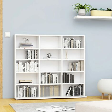 CD Cabinet White 102x16x89.5 cm Chipboard