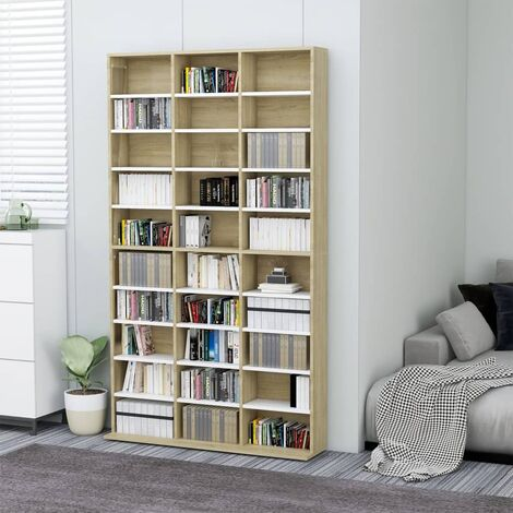 CD Cabinet White and Sonoma Oak 102x16x177.5 cm Chipboard