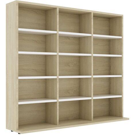 CD Cabinet White and Sonoma Oak 102x16x89.5 cm Chipboard