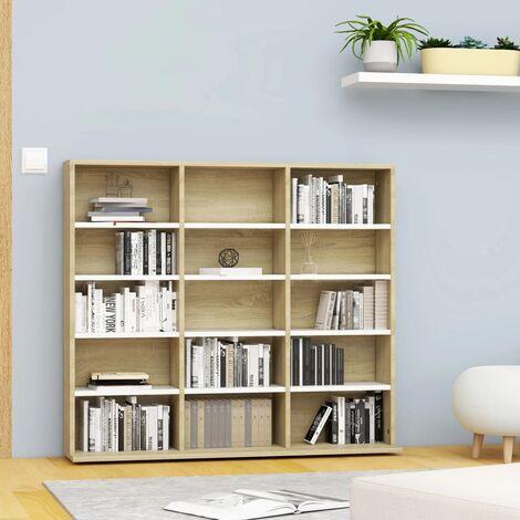 CD Cabinet White and Sonoma Oak 102x23x89.5 cm Chipboard - Beige