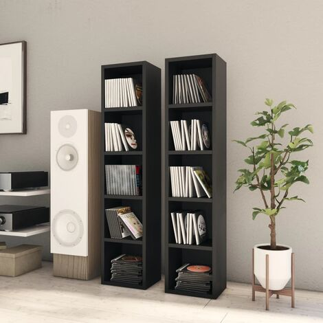 CD Cabinets 2 pcs Black 21x16x93.5 cm Chipboard