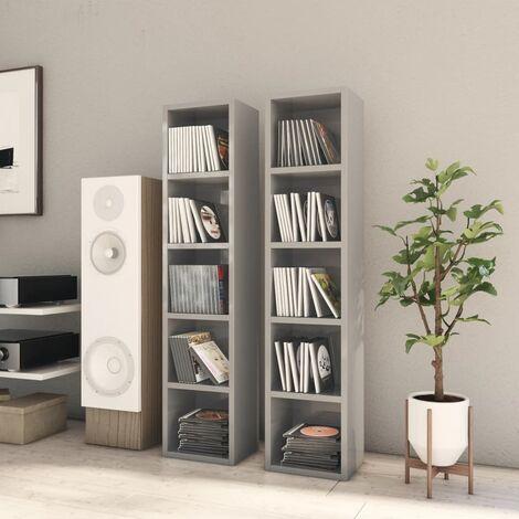 CD Cabinets 2 pcs High Gloss Grey 21x16x93.5 cm Chipboard
