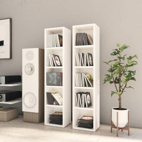 CD Cabinets 2 pcs High Gloss White 21x16x93.5 cm Chipboard