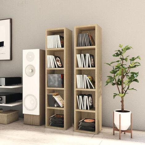 CD Cabinets 2 pcs Sonoma Oak 21x16x93.5 cm Chipboard