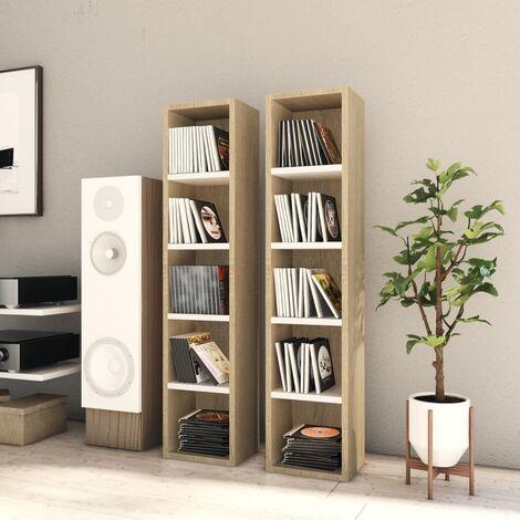 CD Cabinets 2 pcs White and Sonoma Oak 21x16x93.5 cm Chipboard