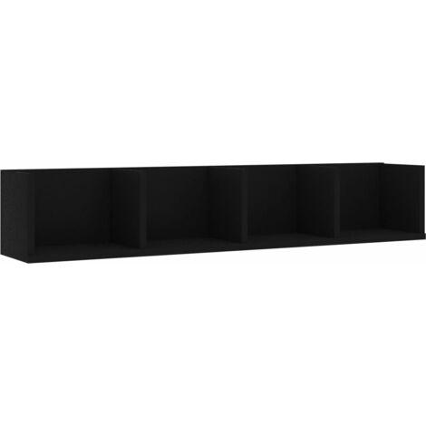 CD Wall Shelf Black 100x18x18 cm Chipboard