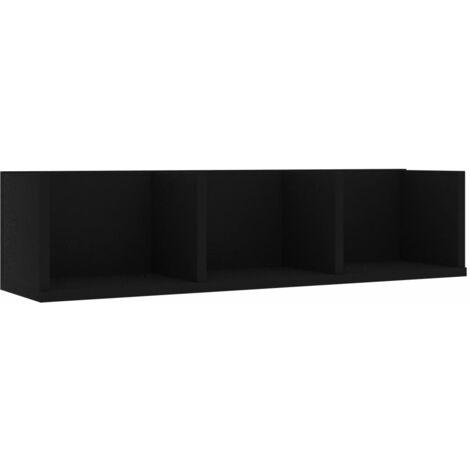 CD Wall Shelf Black 75x18x18 cm Chipboard