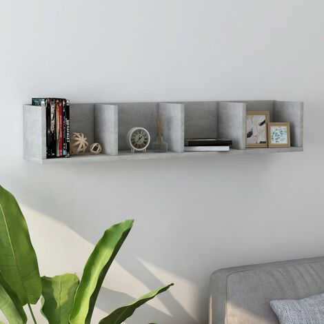 CD Wall Shelf Concrete Grey 100x18x18 cm Chipboard