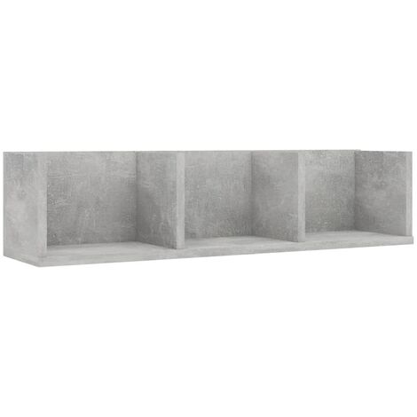 CD Wall Shelf Concrete Grey 75x18x18 cm Chipboard