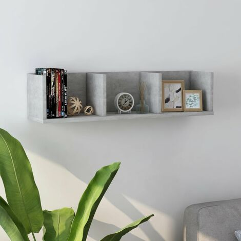 CD Wall Shelf Concrete Grey 75x18x18 cm Chipboard - Grey