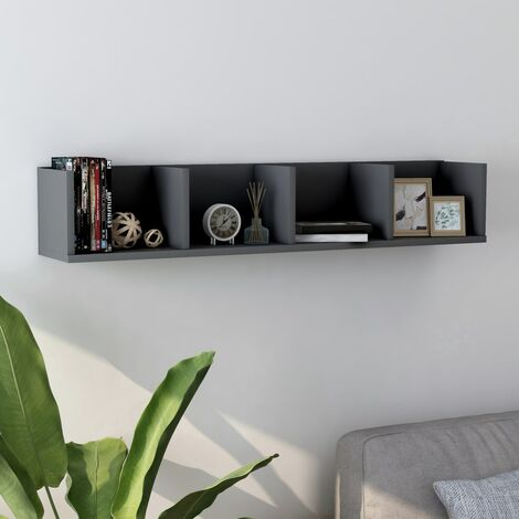 CD Wall Shelf Grey 100x18x18 cm Chipboard