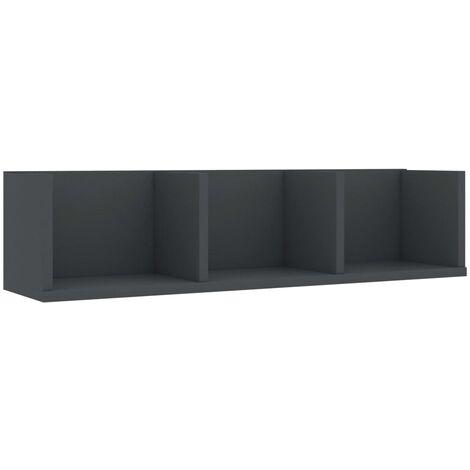 CD Wall Shelf Grey 75x18x18 cm Chipboard