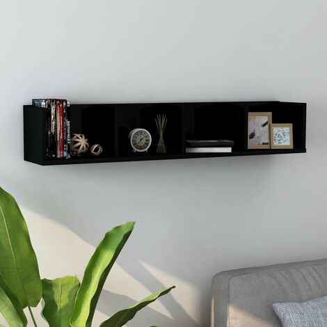 CD Wall Shelf High Gloss Black 100x18x18 cm Chipboard
