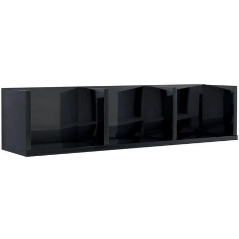 CD Wall Shelf High Gloss Black 75x18x18 cm Chipboard