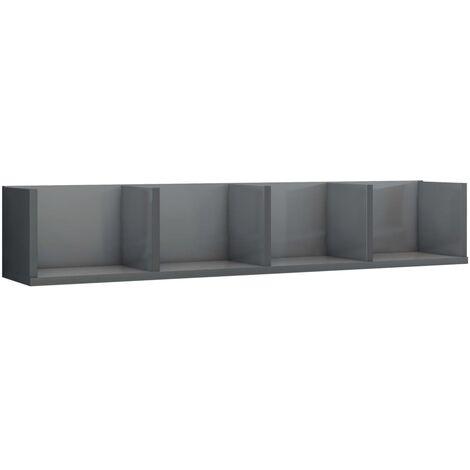 CD Wall Shelf High Gloss Grey 100x18x18 cm Chipboard