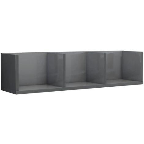 CD Wall Shelf High Gloss Grey 75x18x18 cm Chipboard