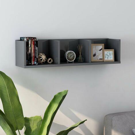 CD Wall Shelf High Gloss Grey 75x18x18 cm Chipboard - Grey