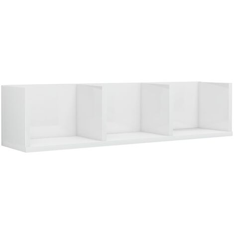 CD Wall Shelf High Gloss White 75x18x18 cm Chipboard