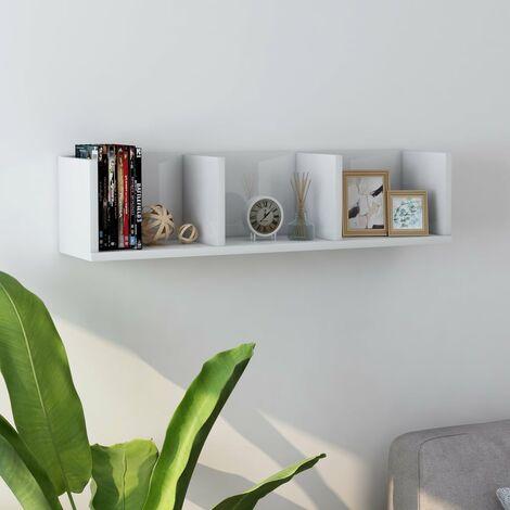 CD Wall Shelf High Gloss White 75x18x18 cm Chipboard - White