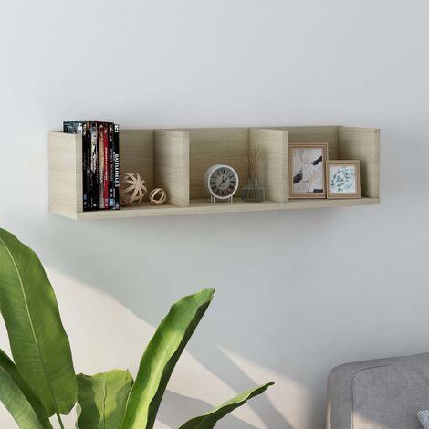 CD Wall Shelf Sonoma Oak 75x18x18 cm Chipboard - Beige