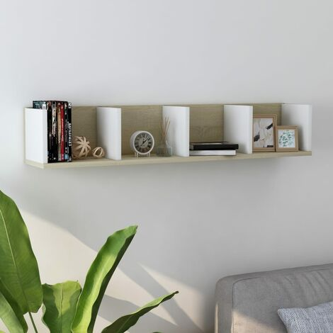 CD Wall Shelf White and Sonoma Oak 100x18x18 cm Chipboard