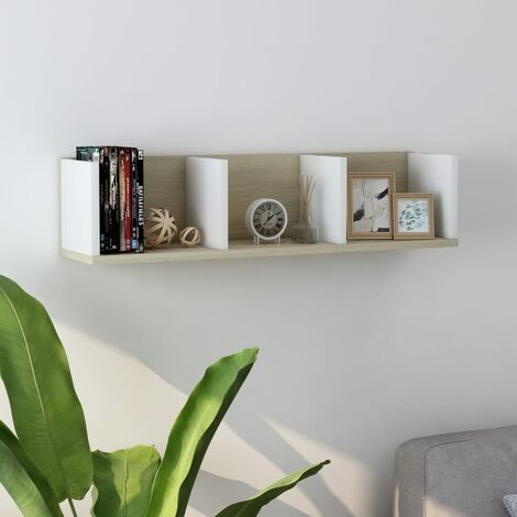 CD Wall Shelf White and Sonoma Oak 75x18x18 cm Chipboard - Beige