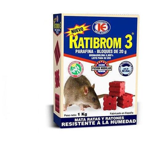 """main image of """"Cebo en bloques RATIBROM 3 con parafina contra ratas y ratones - 1 kg"""""""