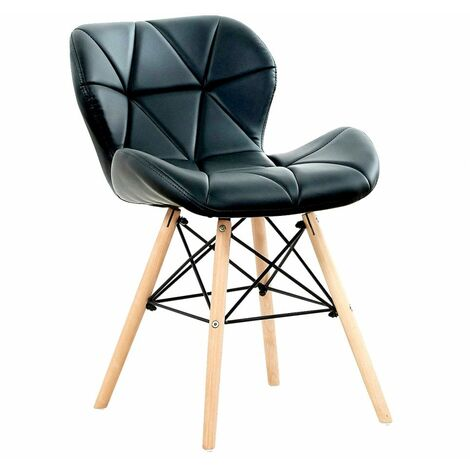 Cecilia Chair - Faux Leather   Modern Retro Dining Chair   Backrest   Upholstered Chair   Kitchen chair   Living Room   Chair for Dining Room   Bedroom Chair (BLACK)