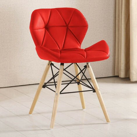 Cecilia Chair - Faux Leather   Modern Retro Dining Chair   Backrest   Upholstered Chair   Kitchen chair   Living Room   Chair for Dining Room   Bedroom Chair (GREY)