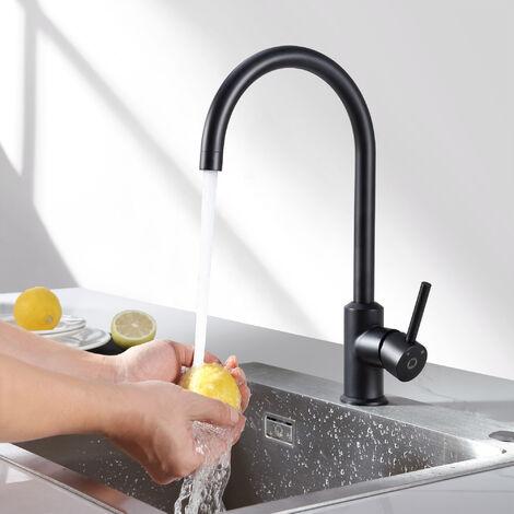 CECIPA 2er 360° Drehbar Wassserhahn Küche | 55cm Ausziehbare Brause mit 2 Strahlarten | Einhebelmischer Küchearmatur Spültischarmatur Spülbecken Mischbatterie,edelstahl-optik