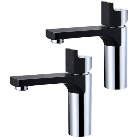 CECIPA 2er Design Wasserhahn Bad Armatur   Osmose Waschtischarmatur Einhebelmischer Mischbatterie   Waschbeckenarmatur für Badezimmer Waschbecken, Schwarz