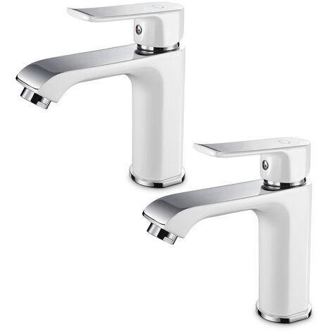 CECIPA 2er Design Wasserhahn Bad   Osmose Armatur Waschtischarmatur Einhebelmischer Mischbatterie   Waschbeckenarmatur für Badezimmer Waschbecken, Weiß
