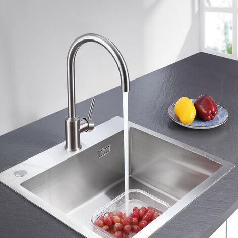 CECIPA 360° Drehbar Wassserhahn Küche | 55cm Ausziehbare Brause mit 2 Strahlarten | Einhebelmischer Küchearmatur Spültischarmatur Spülbecken Mischbatterie,edelstahl-optik