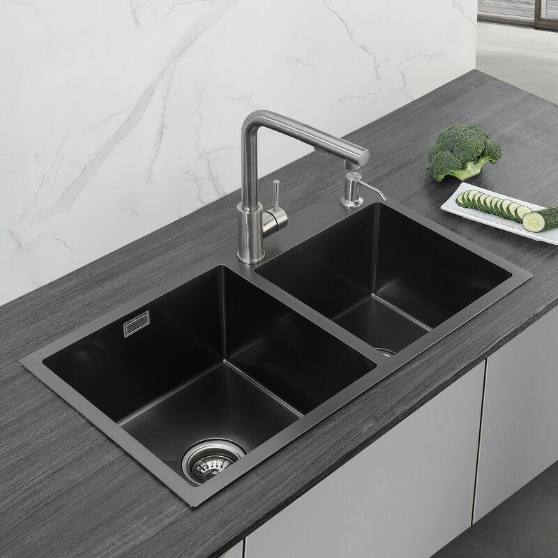 CECIPA 78×43 Evier de cuisine 201 Acier Inoxydable PVD nano évie