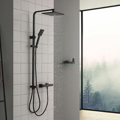 Cecipa colonne de douche cuivre de douche pour salle de bain Noir sans mitigeur