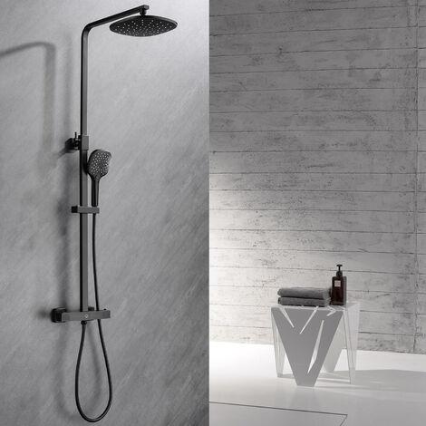 CECIPA Duschsystem schwarz mit thermostat Verstellbare Höhe