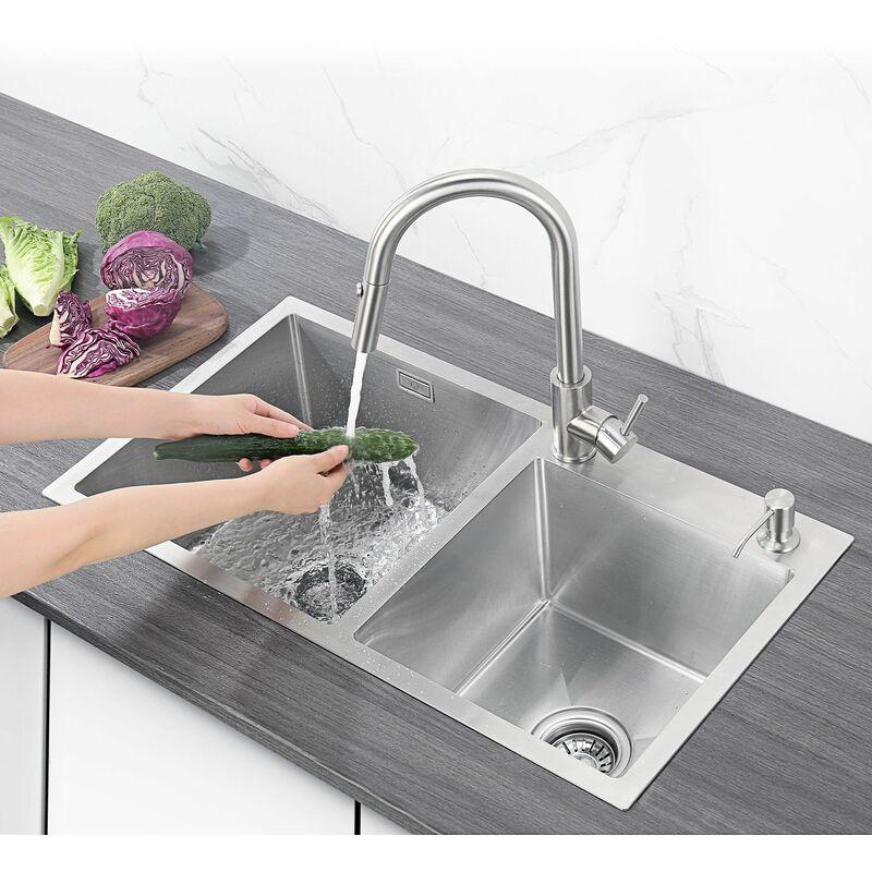 Cecipa Evier de cuisine inox à deux 2 bacs Multi-interface (sans robinet )78 * 43 * 22 cm