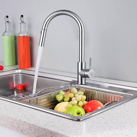 CECIPA Küchenarmatur Ausziehbar Einhebelmischer 360° Schwenkbar aus Gebürsteter Edelstahl, Wasserhahn Küche mit Herausziehbar Spülbrause mit 2 Strahlarten für Küche
