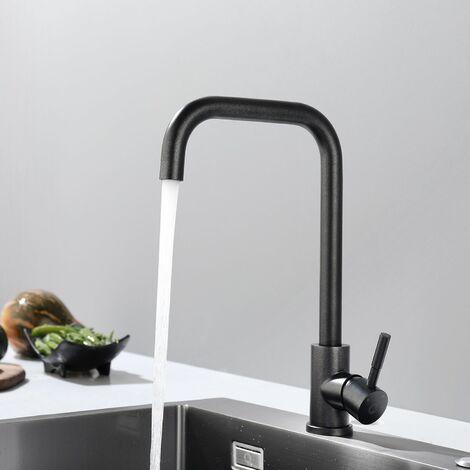 Cecipa Mitigeur de Cuisine Pivotant à 360°Inoxydable 304 Conservation de l'eau Noir