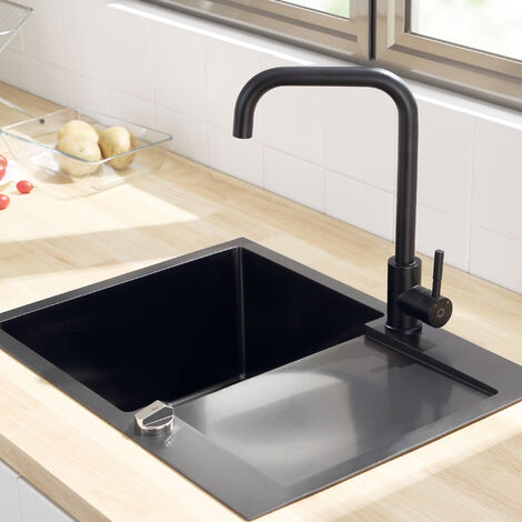 CECIPA Robinet Cuisine Noir avec Bec Haut, Mitigeur Cuisine Pivotant à 360°, Froid & Chaud Disponible, en Acier Inoxydable