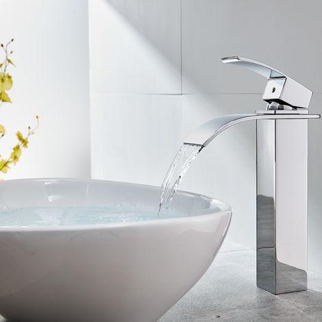 CECIPA Robinet Lavabo Cascade Haut Mitigeur de Salle de Bain Robinet Cascade pour Vasque Solide Robinetterie de Super Qualité
